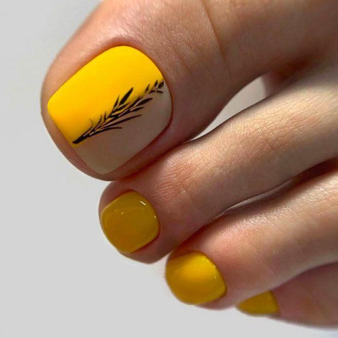Over 50 Fun Toe Nail Designs To Go Crazy Over Naildesignsjournal Com Yellow Toe Nails Feet Nail Design Toe Nail Designs