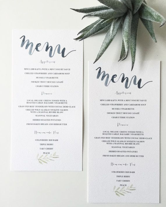 Watercolor and Calligraphy Wedding Menu with Leaves, Olive Leaf - Printed