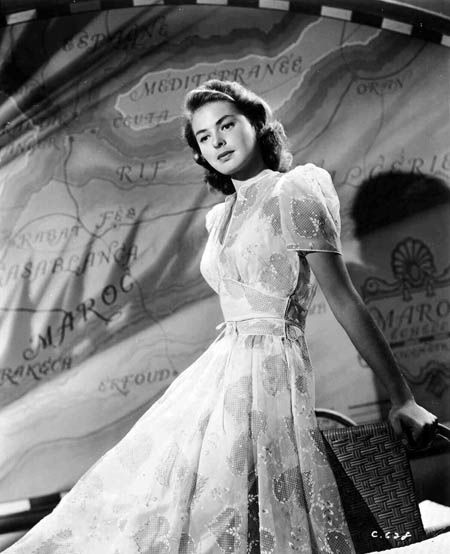 ‪#‎topvintage‬ Ingrid Bergman in a sheer belted dress for Casablanca.