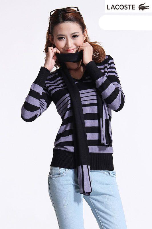 Chandail V-Neck Femme Pourpre Lacoste Striped Noir Polo Consultez
