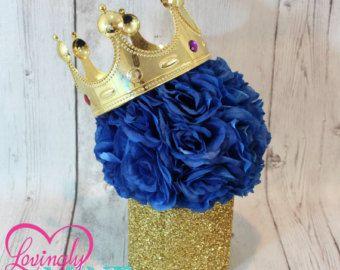 Brillo oro y centro de mesa azul real azul imitación seda