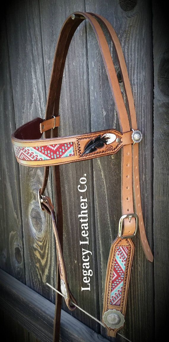 Custom beaded headstall by Legacy Leather Co.