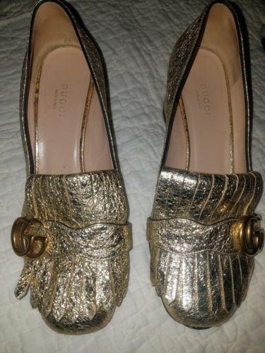 91397c9e4e3 Details about Gucci Marmont Fringe Black Suede 55mm Block Heel Loafer Pumps  Size 37 7  790.00