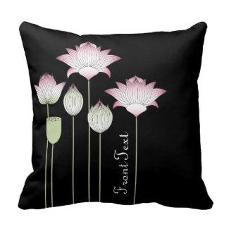 Modern Vintage Pink Lotus Flower Black Throw Pillow for Yoga Lover