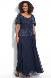 J Kara Floral Beaded Mock Two Piece Chiffon Gown $218.00 at Nordstorms
