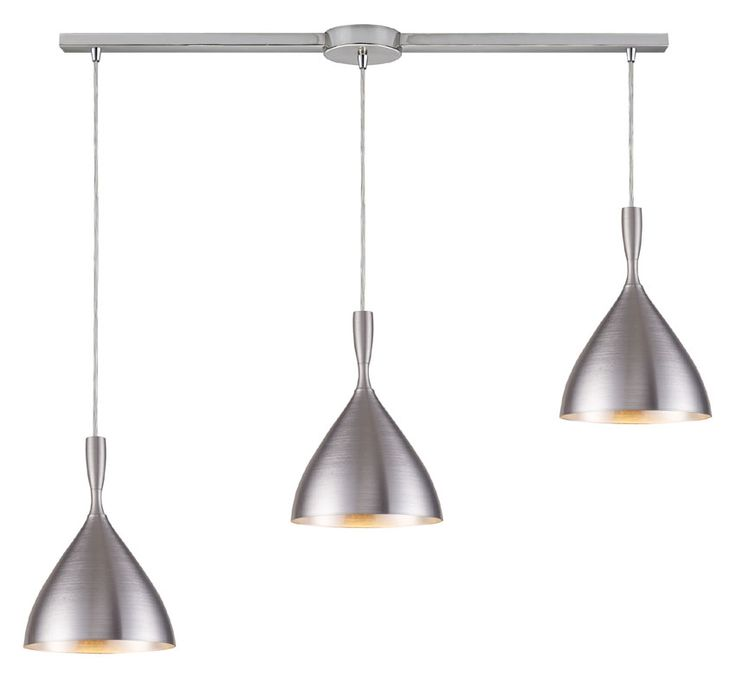 Elk 17042 3l alm spun aluminum 3 lamp modern linear bar multi pendant light 36 inches wide