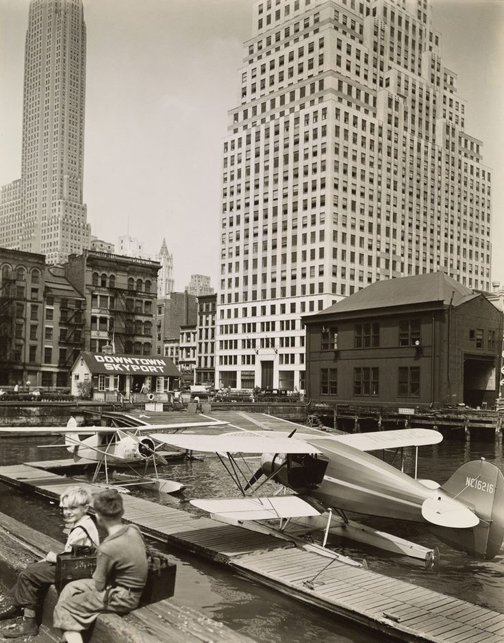 Downtown Skyport, Pier 11, East River, Manhattan by Berenice Abbot