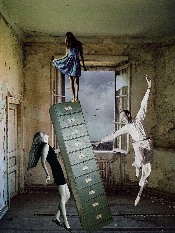 Les équilibristes, 2017. Collage papier de Zophie Zyphon