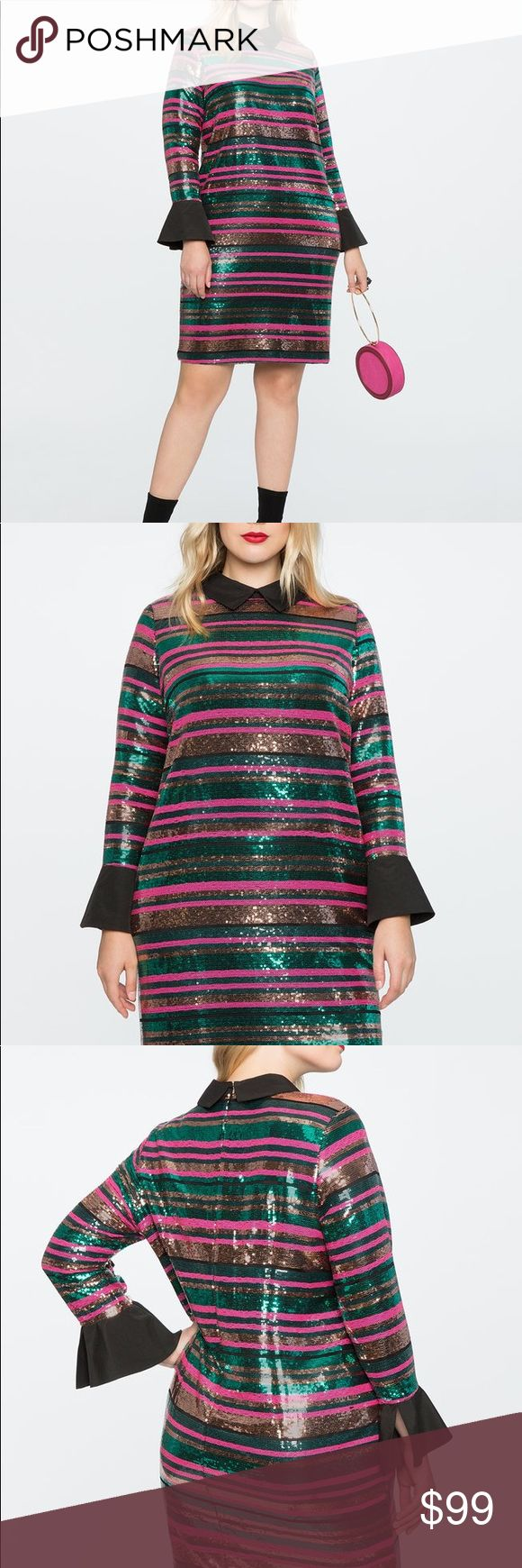 Eloquii sequined dress Eloquii striped sequin dress is fully lined with an invisible back zipper. Dress is a non-stretch woven fabric and the length is 41 inches. This dress has only been tried on but never worn. Eloquii Dresses Midi