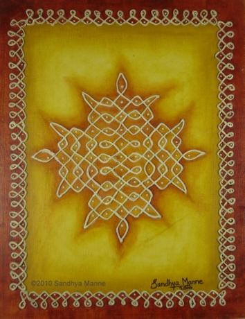 """""""Mixed Media Kolam Three"""" has been inspired by the ancient Indian art of small to elaborate patterns made of dots and lines called KOLAMS. Kolams was and still is used to decorate the floor and the front yards of homes and temples.The artwork is done on Canvas Board and I have used Clay to do the embossed dots and lines.I wanted an earthy background and so used Yellow Ocher and Sienna on the Borders..."""