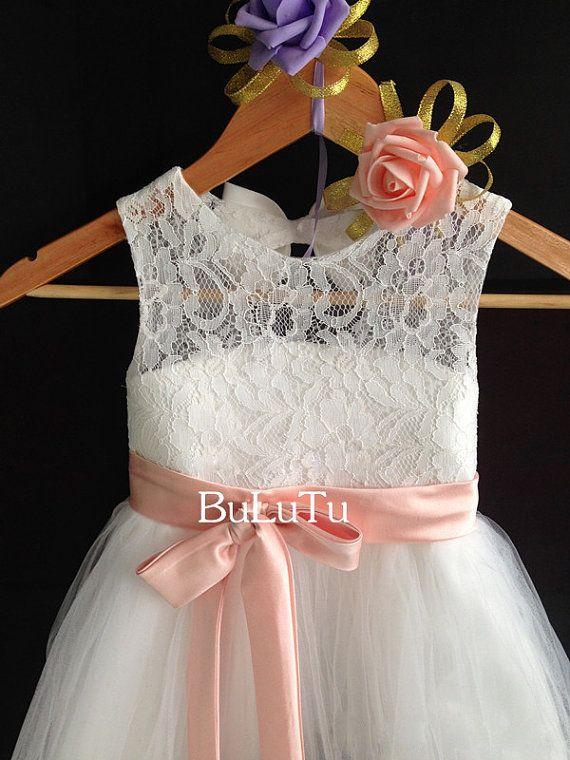 Blush pink sash and bow Ivory lace tulle flower girl dress Junior Bridesmaid Baptism Infant Toddler Dress