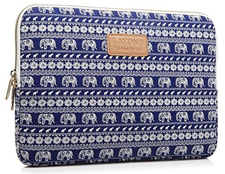 KAYOND Elephant Patterns Canvas Fabric 17 Inch for Macbook Pro Sleeve Case (1...