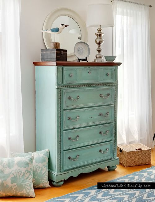 PROVENCE DRESSER - - love this DIY dresser makeover.  Awesome paint color.