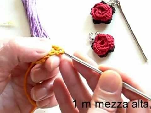 Come fare Orecchini Rosa Uncinetto - Video Tutorial in Italiano | Cucito Creativo - Tutorial gratuiti - Idee Creative - Uncinetto - Riciclo Creativo