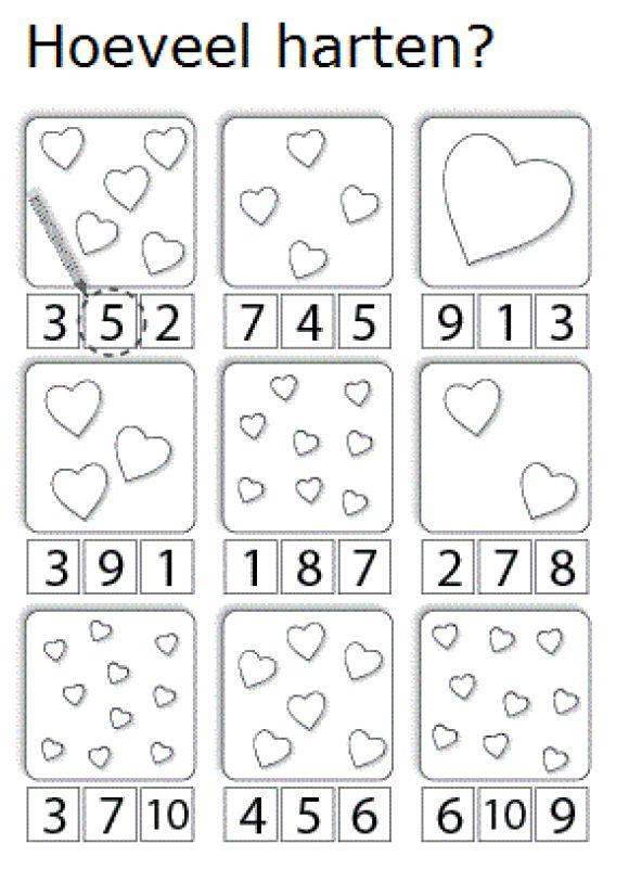 Hoeveel harten - Zet een cirkel om het juiste aantal [pinterest.com/evelynewerbrouc]