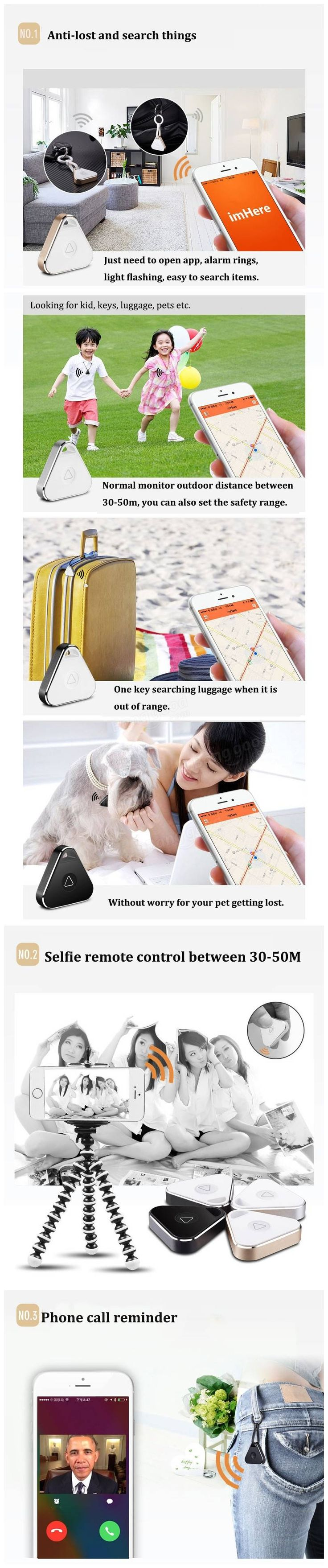 Smart Bluetooth Anti-Lost Keychain Tracker Positioning Locator Call Reminder APP Support Device