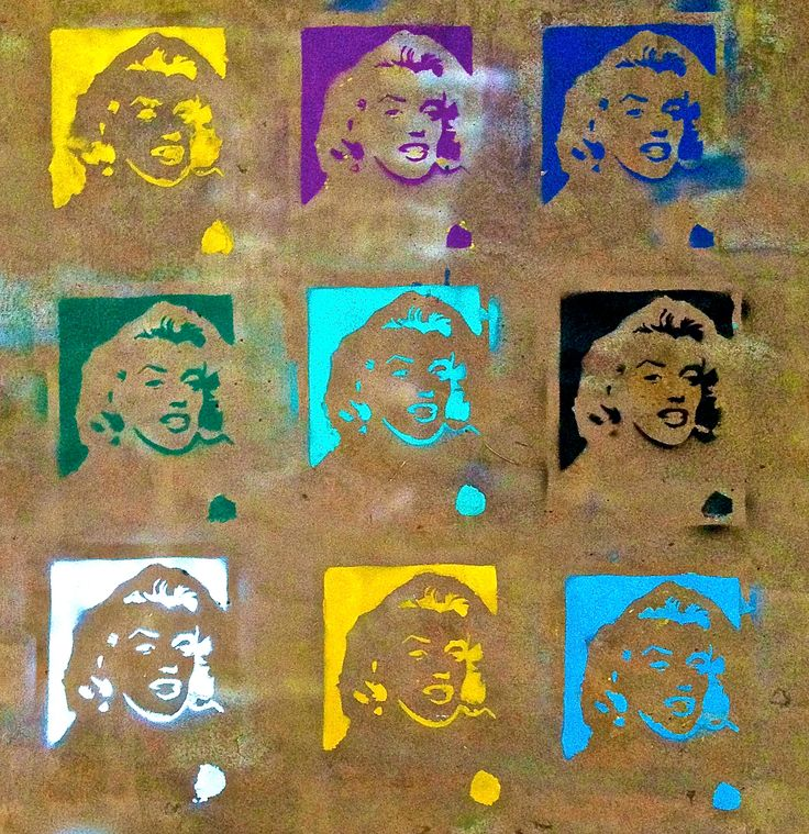 Marilyn Monroe repeat stencil spray paint pop art. Andy Warhol inspired. Designed by Nic Mancuso