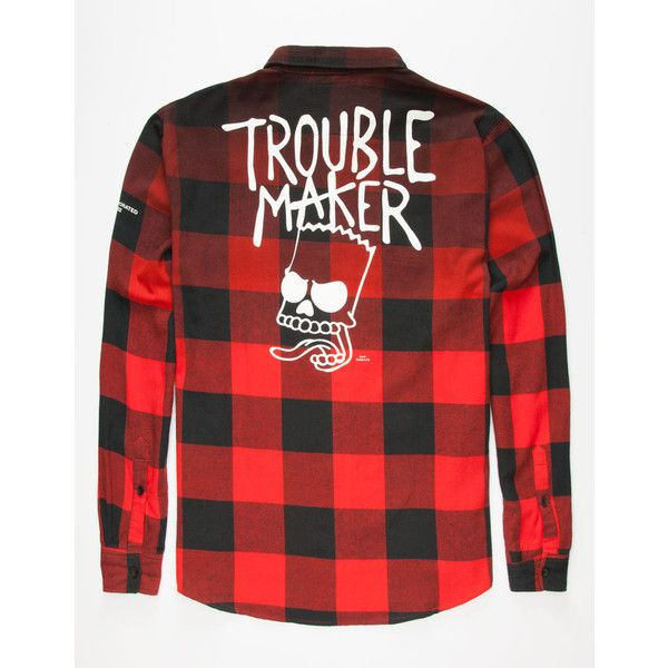 Neff x The Simpsons Trouble Maker Mens Flannel Shirt ($49) ❤ liked on Polyvore featuring men's fashion, men's clothing, men's shirts, men's casual shirts, red, mens button front shirts, mens buffalo check shirt, mens long sleeve graphic t shirts, mens long sleeve shirts and mens red shirt