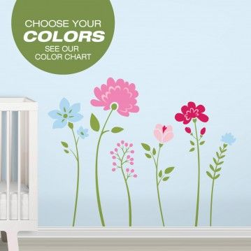 Flower Wall Decals - Choose Your Colors - Floral Removable Wallpaper