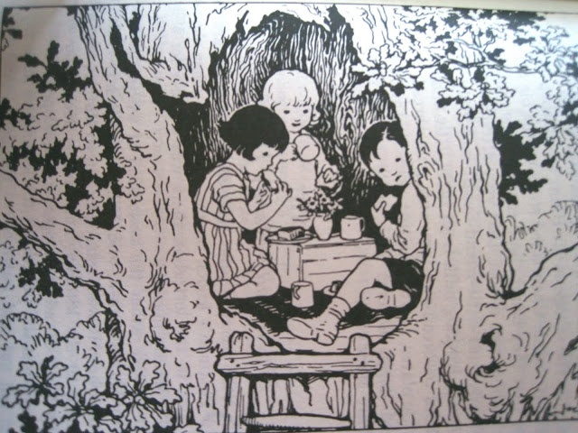 Joyce Lankester Brisley- Treehouse illustration from Milly Molly Mandy book-English author & illustrator (1896-1978)