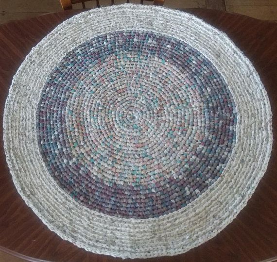 Round Farmhouse Rug 40 Area Rugs Accent Rug Country Fabric Rug Rag Rug Linen Upcycled Rug Handmade Crocheted Rugs Handmade Rag Rug Rag Rug Fabric Rug