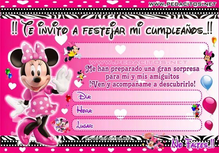 Tarjeta De Cumpleaños Minnie Bebe Para Editar Imagui En