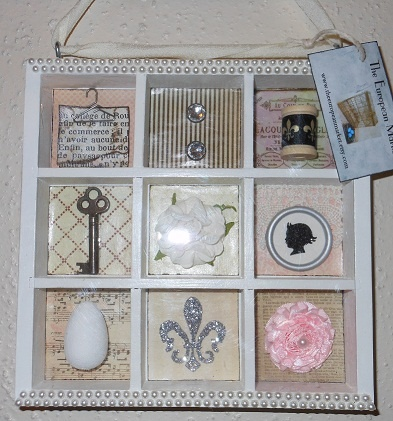 My first shadow box. I love all the textures and colors...
