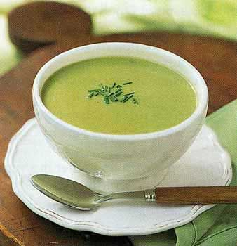 Cream of Asparagus Soup- uses plain greek yogurt in stead of creme fraiche, served with homemade croutons.  YUM!