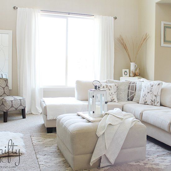 Neutral living room decorated on a budget!