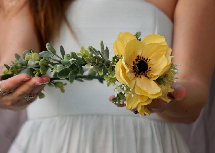 Flower crown, yellow flower crown, anemone crown, flower crown wedding, yellow flower headpiece, bridal floral crown by WelcomingGraceCrafts on Etsy