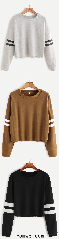 Drop Shoulder Varsity Striped Crop T-Shirt