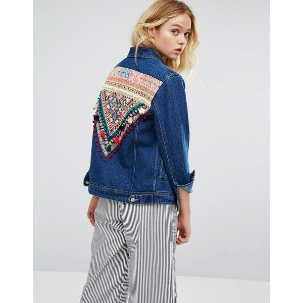 Mango Embroidered Back Denim Jacket ($95) ❤ liked on Polyvore featuring outerwear, jackets, blue, embroidered denim jackets, tall jackets, blue jean jacket, blue jackets and embroidered jacket