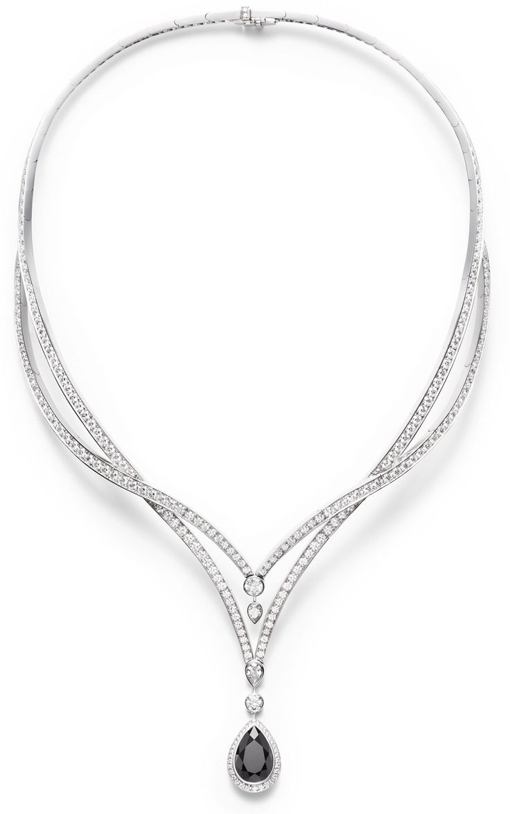 Piaget couture précieuse necklace radiant laces inspiration in 18k white gold set with 298 brilliant