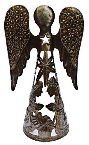 "Nativity, Haiti Metal Art, Angel from Recycled 55-Gallon Oil Barrel 9"" X 14 1/2"" it's cactus - metal art haiti http://www.amazon.com/dp/B00N1CFHFM/ref=cm_sw_r_pi_dp_k4JRwb018J6NT"