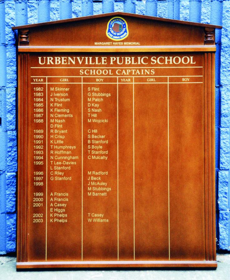 Urbanville Public School #honourboard #CSI #plaque #memory #recognition #school #sign #signage #identity #honour