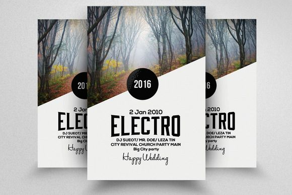 Electro Party Flyer Template by Business Flyers on Creative Market
