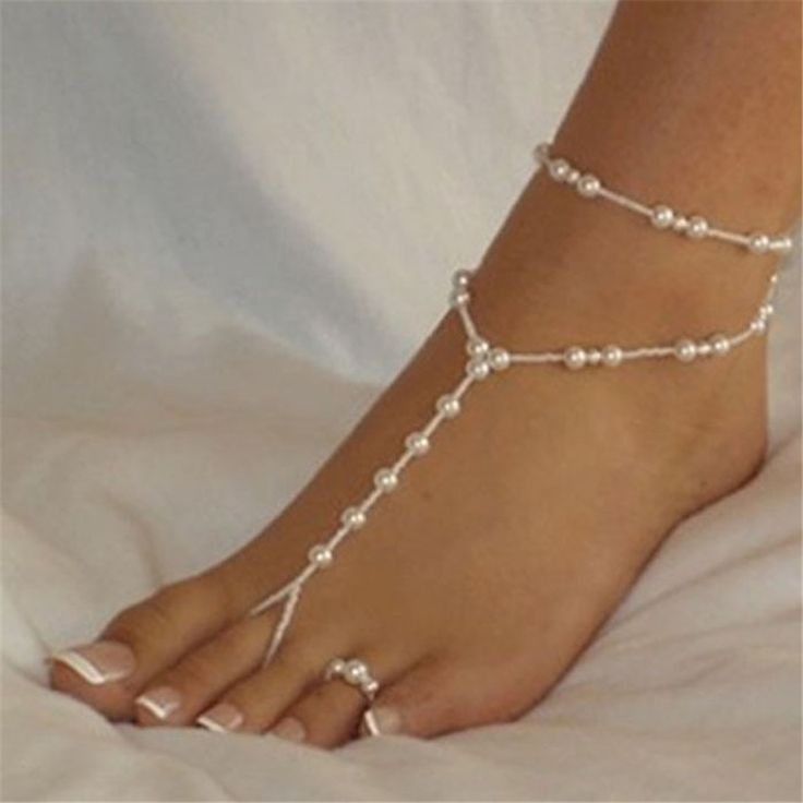 Faux Pearl Ladies Barefoot Sandal Anklet and Toe Ring Set