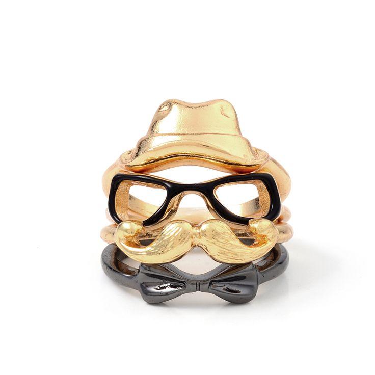 Новинка 4 шт. кольцо устанавливает ретро панк личности укладки кольца старинные очки лягушка борода бантом многослойные кольцо для женщин 2015купить в магазине yiwu carshin JewelryCo.,Ltd. StoreнаAliExpress
