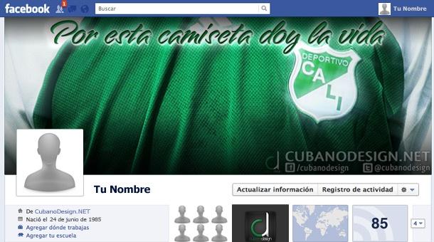 Portada para Facebook de camiseta del Deportivo Cali (Adidas) - Por esta camiseta doy la vida.