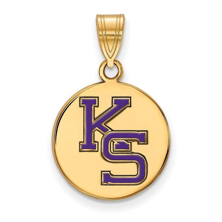 Sterling Silver w/GP LogoArt Kansas State University Med Enamel Disc Pendan