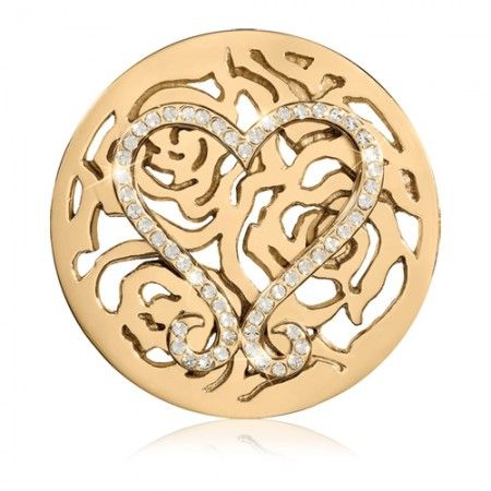 "Nikki Lissoni Swarovski Lovely Roses Coin - Large Gold-Tone - Nikki Lissoni large gold-tone Swarovski Lovely Roses coin insert for interchangeable, personalized fashion and style. Fits into the Nikki Lissoni large (1-3/4"") coin holder pendants."