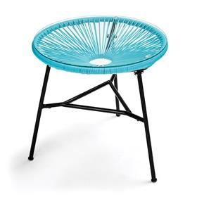 Acapulco Replica Side Table - Blue $29.00   Material: metal; plastic weave Tempered glass table top Measures: 50cm (dia) x 50cm (H) Urban | Kmart