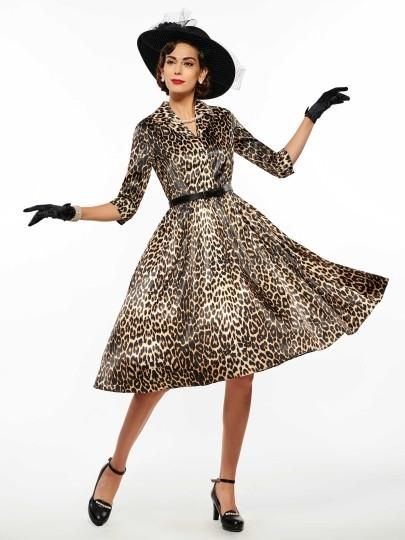 Lapel Leopard Belt Dress