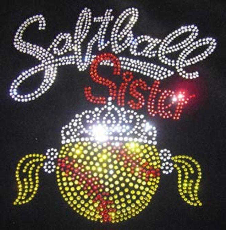 Softball Sister Rhinestone Transfer Pig Tails Crown Hot Fix Transfer Iron On   eBay