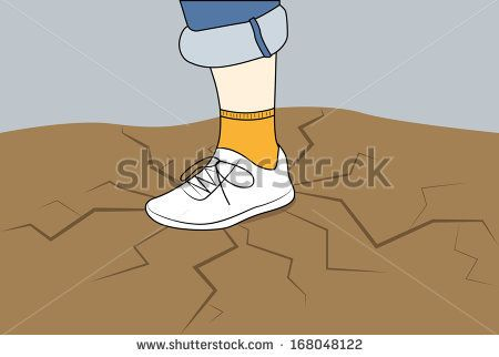 The human foot in a sneaker on the ground with cracks - stock vector