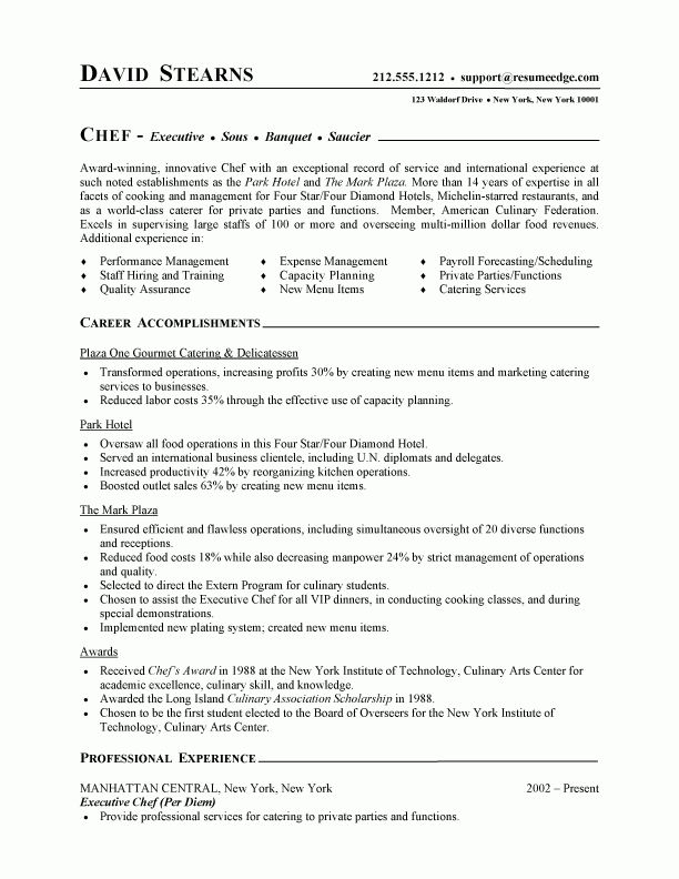 9 best Best Hospitality Resume Templates \ Samples images on - cook resume examples