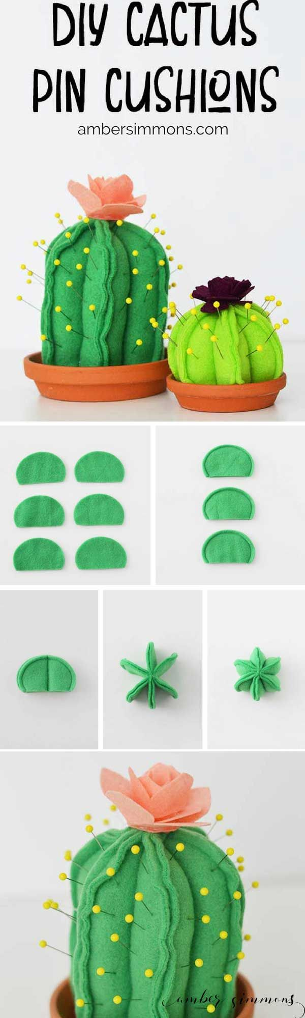 This super cute DIY Cactus Pin Cushion is so simple to make even a beginning sewer can make one. And with the Cricut Maker pattern, cutting them out is a breeze. | ambersimmons.com | #girlsnight #sewing #cacti #succulents #fleece