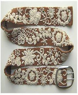 embroidered belt.