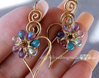 Wire Jewelry Tutorial  - Charming Hearts 2 Earrings - Instant Download PDF File