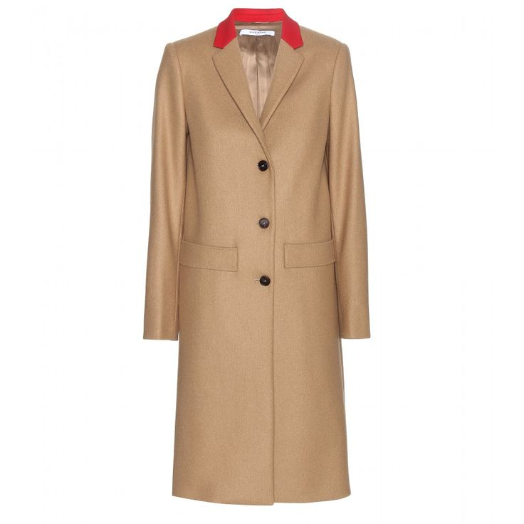 Givenchy - Long wool coat - Givenchy embraces classic lines with this simply beautiful coat. Straight-cut and stunning, it's crafted from a soft wool blend in a traditional camel hue. Accented with a red collar, this is a perfect everyday coat for fall and winter. seen @ www.mytheresa.com